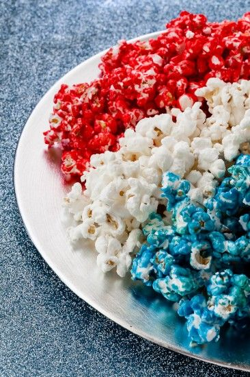 Patriotic Popcorn. Pair these fun colors with this blue and white striped popcorn bucket from Paper Source: http://www.paper-source.com/cgi-bin/paper/item/Aqua-Popcorn-Boxes/2709_023/520439.html