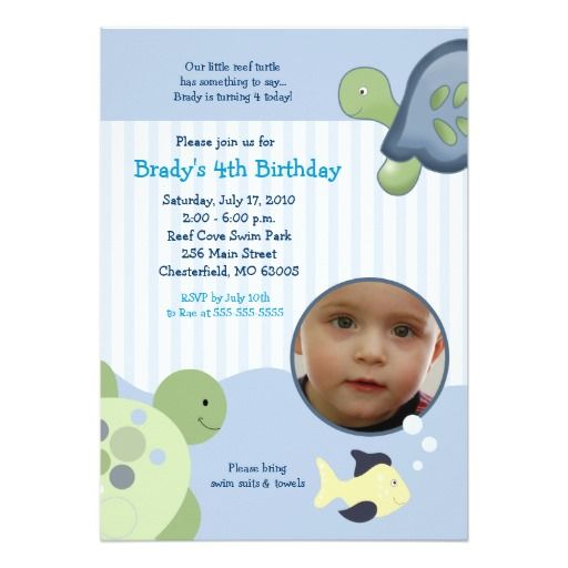 387 best turtle birthday party invitations images on pinterest reef turtle photo 5x7 custom birthday invitation stopboris Images