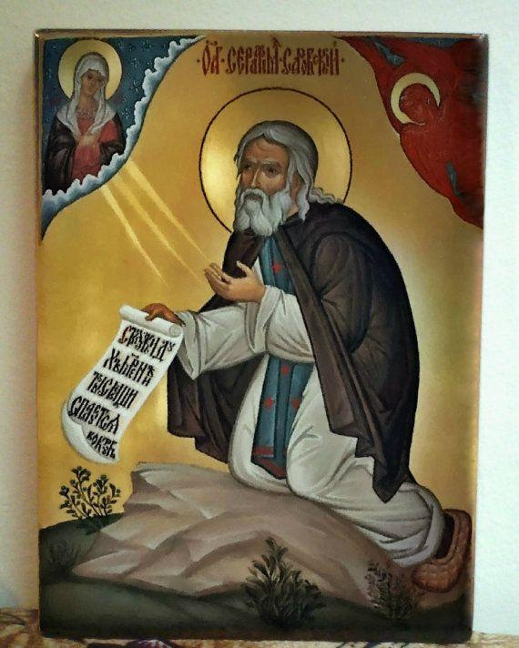 St. Seraphim of Sarov orthodox icon от Iconikonaikone2014 на Etsy