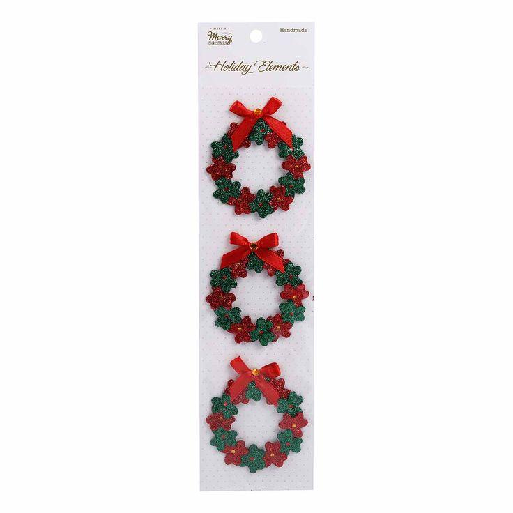 Christmas 3D Glitter Wreaths stickers 3pcs | Riot Art and Craft