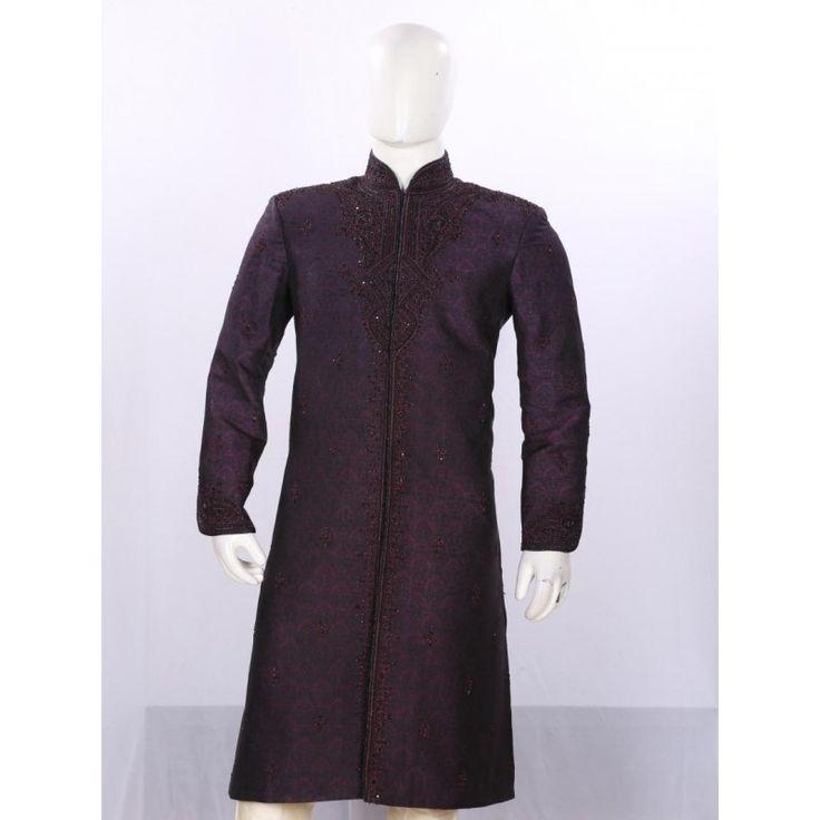 Wedding Wear Dark Maroon Sherwani - SI3878 - ECS06