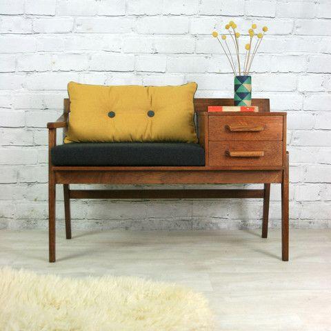 Vintage teak 1960s telephone seat - vintage mustard!