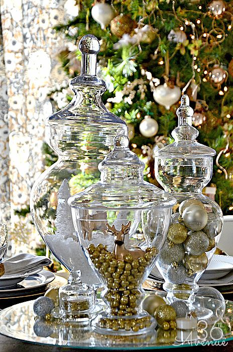 Apothecary jars are a cute, easy way to create a charming holiday tableau when filled with your favorite festive ornaments