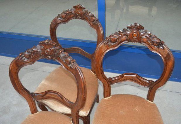 Tre sedie in noce/velluto '800 Luigi Filippo schienale scolpito melograno+