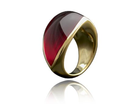 Libertine blood red resin ring by William Cheshire