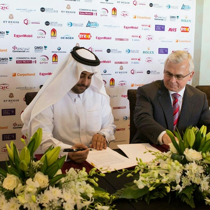 QMDI Chairman & CEO signs gold Sponsorship with commercial bank Qatar Masters 2013