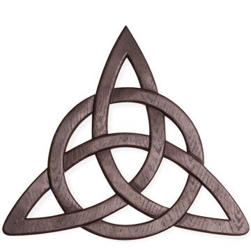 "Trinity Knot Wall Hanging - This impressive wall décor is crafted of resin with a wood grain look and mahogany finish. 12"" x 11"" boxed. Arrives with gift card explaining the Celtic Trinity Knox and its Christian symbolism."