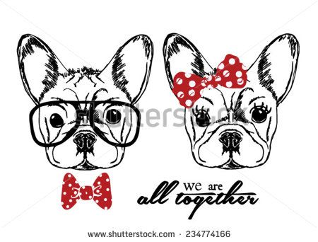 Hand Drawn Vector Portrait Of French Bulldog In Pink Tie Bow And Monocle  - 234774166 : Shutterstock