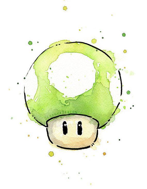 Green 1UP Mushroom Watercolor Art Print, Geek Videogame Nintendo Mario Painting Decor                                                                                                                                                                                 Más