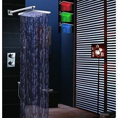 12 polegadas chuva chuveiro termostática torneira, temperatura levou sensíveis 3 cores chuveiro e chuveiro de mão de bronze – BRL R$ 706,02