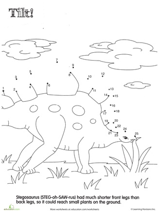 Worksheets: Dino Dot to Dot: Stegosaurus