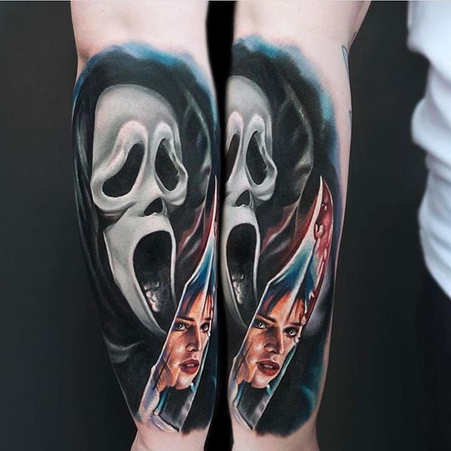 GHOSTFACE (via IG - jordancroketattoo) #jordancroke #halloween #horror #scary #scream #ghostface #colorrealism