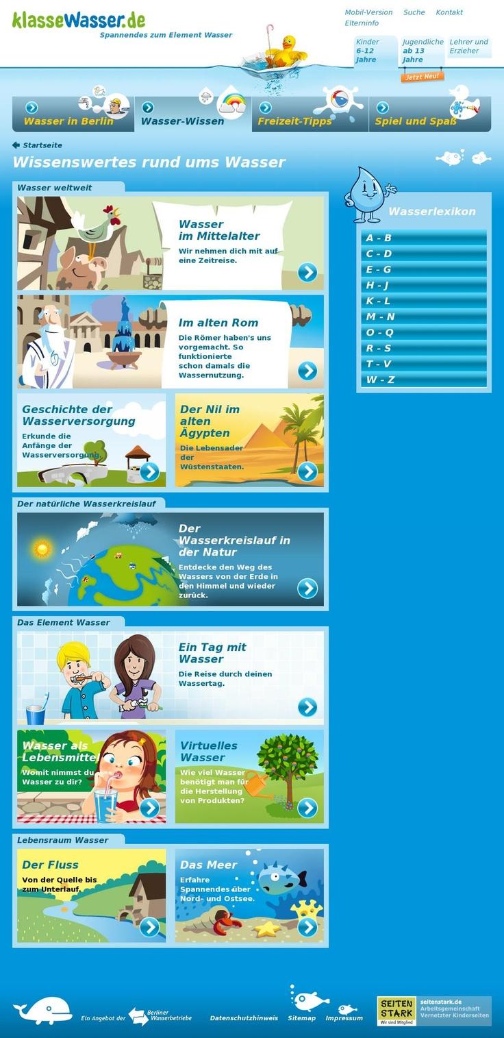 klassewasser.de.  Wasser-Wissen  Auf klassewasser.de finden Jugendliche viele Informationen zu Themen rund um das Thema Wasser, wie Aggregatzustände, Lebensraum Wasser, Naturschutzgebiete, Trinkwasser, Abwasser, Ressourcenschutz und Nachhaltigkeit.