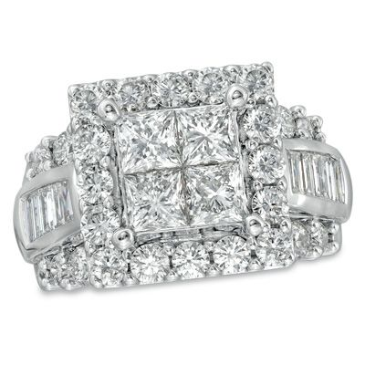 T.W. Princess Cut Quad Diamond Square Frame Engagement Ring In 14K White
