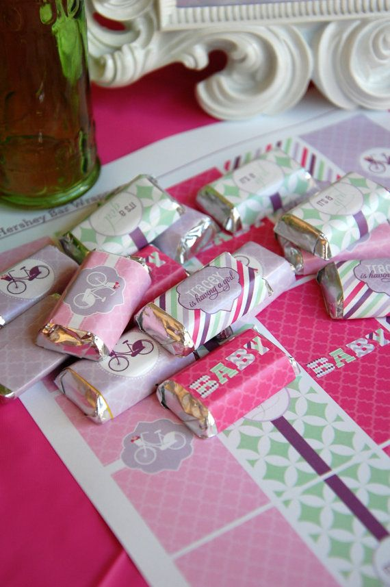 Vintage Bicycle Themed Baby Shower Mini Hershey Bar Wrappers