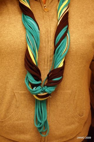 Up cycle old t-shirts into a scarf. I see a rotatory cutter in my future as well.