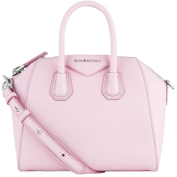 Givenchy Mini Antigona Tote ($1,490) ❤ liked on Polyvore featuring bags, handbags, tote bags, pink tote, structured tote bag, tote handbags, man tote bag and pink purse