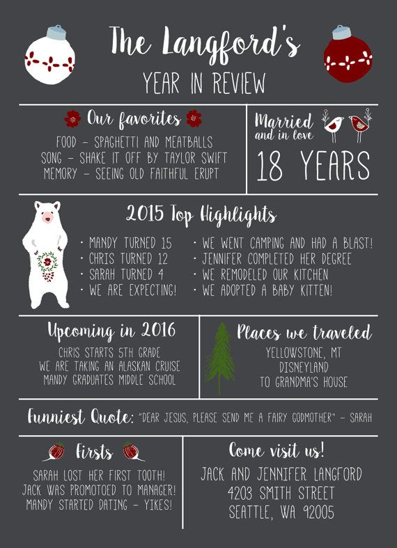 Year In Review Weihnachtskarte von PosyPrintsDesign