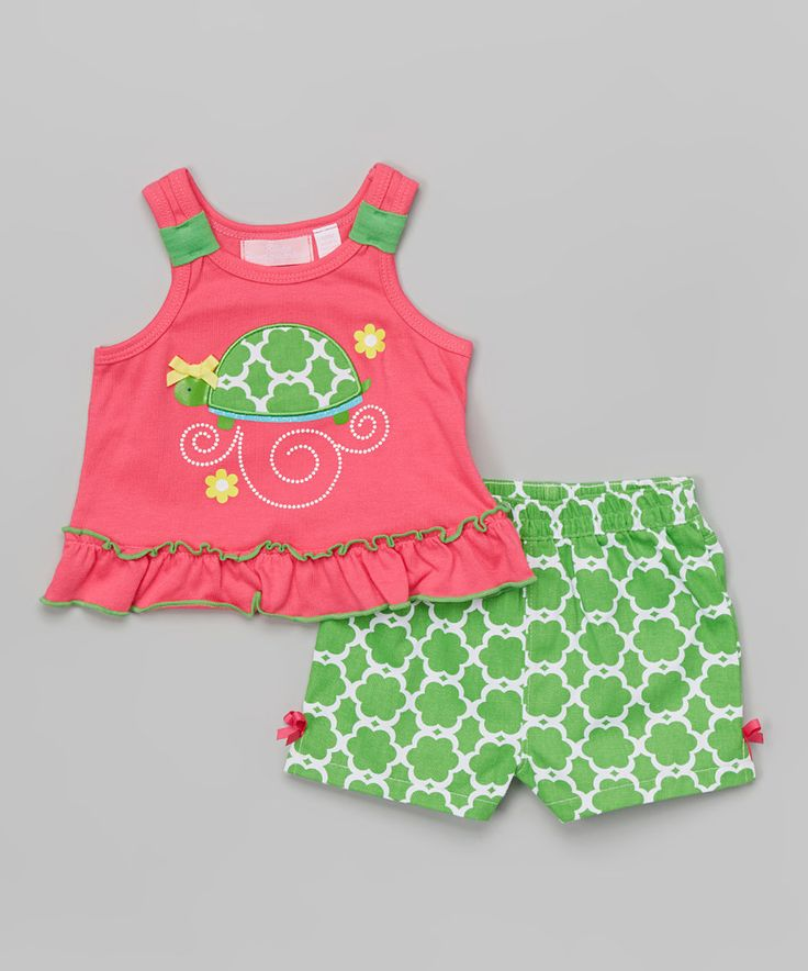 Look what I found on #zulily! Pink Turtle Tank & Green Shorts - Infant & Girls by Kids Headquarters #zulilyfinds