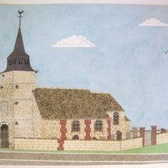 Tableau de sable: l' église du village  http://www.alittlemarket.com/boutique/celined-38515.html