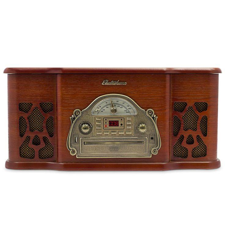 Amazon.com :: Electrohome EANOS502 Wellington Wood Retro Vinyl Turntable Record Player with Headphone Jack and Aux Input: Home Audio & Theater