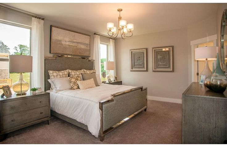Neutral colored master bedroom with chandelier the kinsley floor plan drees homes nashville Entry to master bedroom