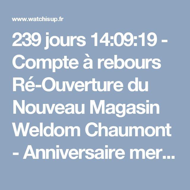 239 jours 14:09:19 - Compte à rebours Ré-Ouverture du Nouveau Magasin Weldom Chaumont - Anniversaire mercredi 18 octobre 2017 à 08:30 | compte à rebours, timer, minuteur | Watchisup