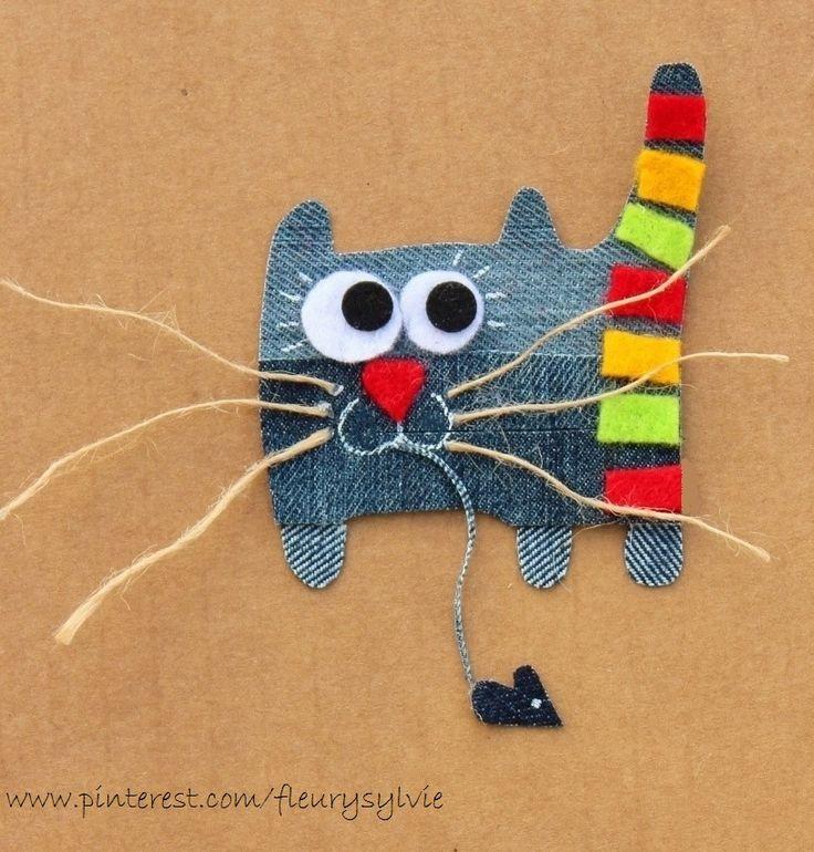 Monsieur Chat-Alors-Quel-Bon-Chasseur !! Recyclage des pantalons over troués de mes garçons. Made by www.pinterest.com/fleurysylvie #recyclage #jean