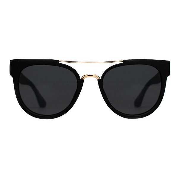 Quay Australia Quay Odin Sunglasses Black (£25) ❤ liked on Polyvore featuring accessories, eyewear, sunglasses, glasses, black, quay eyewear and quay sunglasses