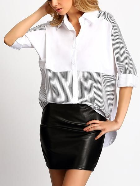 Black And White Colour-Block Loose Striped Blouse