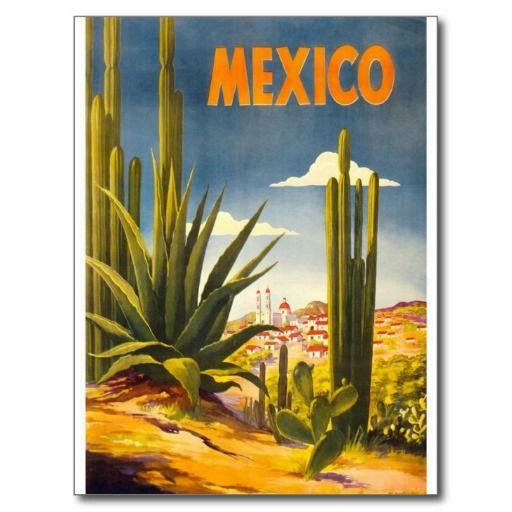 Art vintage de tourisme de voyage du Mexique Cartes Postales | Zazzle
