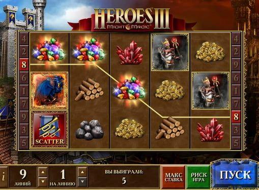 Игровой автомат Heroes 3 на деньги  Игровой онлайн аппарат Heroes 3 перенесет вас в мир средневековых баталий и подарит немало реальных денежных призов. Этот автомат посвящён одноименной компьютерной игре и понравится не только её поклонникам, но и любителям крупных