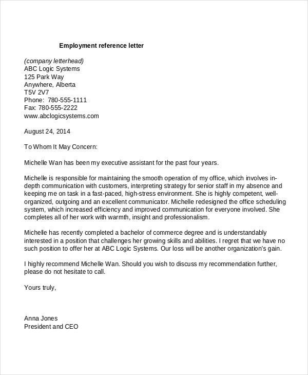 Letter Of Recommendation For Employment template Reference