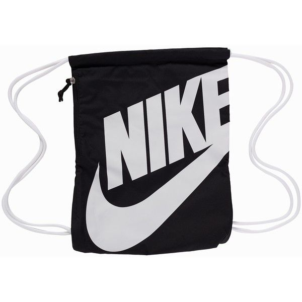 Nike Heritage Age Gymsack ($26) ❤ liked on Polyvore featuring bags, handbags, accessories, black, womens-fashion, nike, drawstring bag, draw string bag, nike purse and gym bag