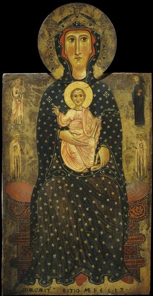Margaritone d'Arezzo Madonna and Child Enthroned, c. 1270 Tempera on panel, 97.3 x 49.5 cm (38 3/16 x 19 ½ in.) National Gallery of Art, Washington, DC, Samuel H. Kress Collection Image courtesy of the Board of Trustees, National Gallery of Art
