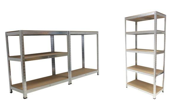 Werkstattregal aus vollverzinktem Metall als individuelles Stecksystem mit sehr stabilen Einlegeböden aus MDF und jeweils 175 kg Traglast