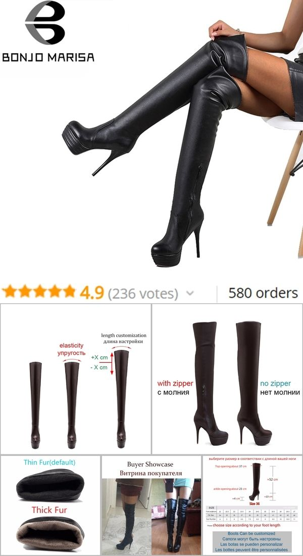 178810dc304 BONJOMARISA Plus Size 32-46 Fashion Over Knee Thigh High Boots Women Spring  Sexy Thin