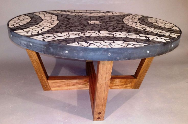 "Black and White Mosaic Coffee Table on Mediterranean Aleppo base,granite table,handmade,mosaic table,mid-century modern,""Morning Star"" by SpearheadFurniture on Etsy"