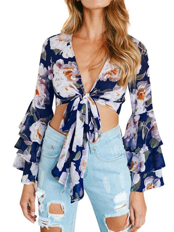 a4b6ae730c8715 Dresswel Women Ruffle Long Sleeve Tie Up V Neck Floral Print Kimono Crop Top  Shirt