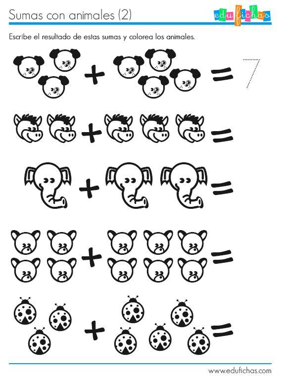 Ficha para preescolar cuyo objetivo es aprender a contar y a sumar. Los resultados no superan el número 10. Cuenta y escribe el resultado. Sumas faciles.