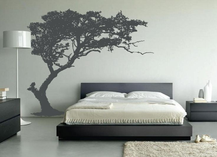 "leaning-tree-wall-decal-bedroom-decor-1130.jpg. I like the idea of incorporating nature (trees) into the ""berretta room"". This looks masculine and modern, and easy to install and remove."