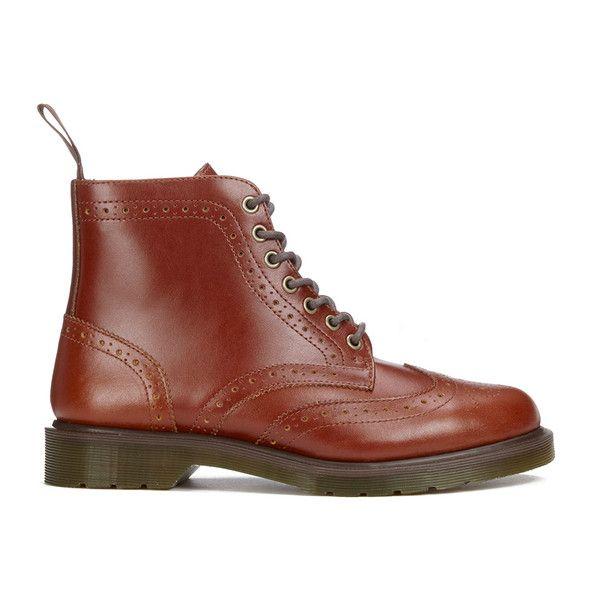 Dr. Martens Men's Affleck Brogue Lace Up Boots - English Tan Analine ($92) ❤…