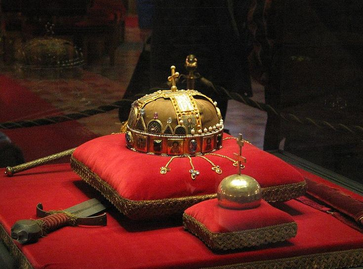 """Hungarian Crown of Saint Stephen. ''On Christmas of the year 1000, the crown was sent as a gift from Pope Sylvester II to St. Stephen the First King of Hungary commemorating the acceptance of Catholicism in the """"Lands of the Crown of Saint Stephen"""". The Crown was the physical symbol of the Hungarian Kingdom, present at the coronation of every King of Hungary up to (deposed) Blessed Charles I of Austria."""