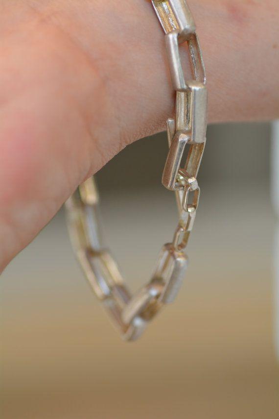 stering silver chain bracelet. Rectangl bracelet. silver handmade rectangular links bracelet. designer bracelet. silver toggle clasp – Online Shop Promotion Group Board ShawlinShop.com