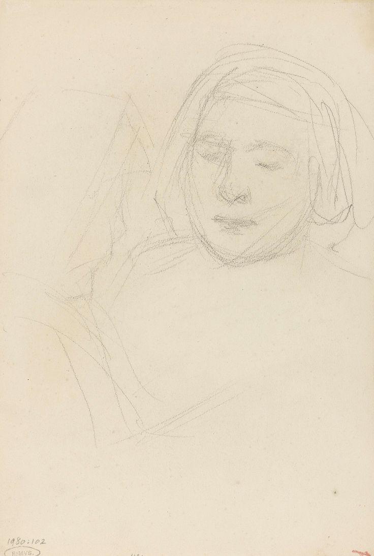 Jozef Israëls | Schets van twee meisjes, Jozef Israëls, 1834 - 1911 |