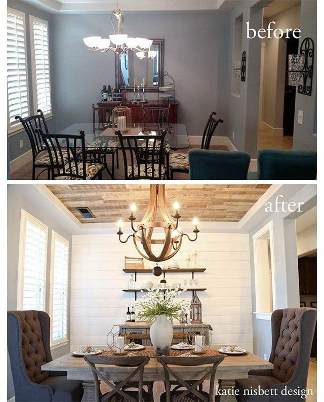 Shiplap Feature Wall In Dining Room Ceiling Shelves And Buffet