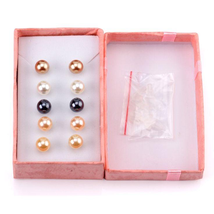2016 Новая Мода Имитация Перл Серьги 5 Пар/уп., женские круглые серьги стержня, бесплатный пакет подарок