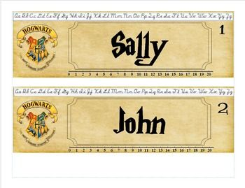 These name plates are in Publisher format and can be edited to type in the students names (I downloaded a Harry Potter font to type their names with). If you do not have Publisher please print the PDF version and write in the students names instead. There is numbers in the top corner to represent the assigned students classroom number.