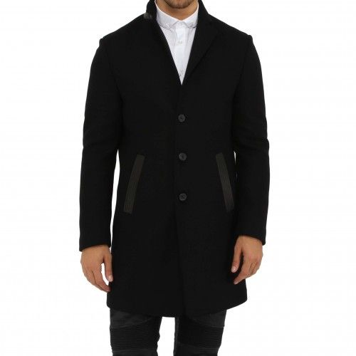 John Varvatos ¾ Length Single Breasted Coat. A classic peacoat with peaked lapel and 3-button front closure is updated with contemporary leather trims.