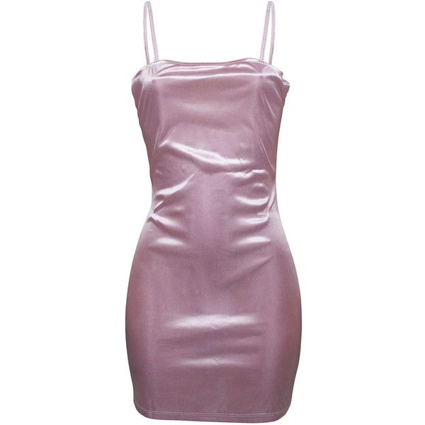 Spaghetti Strap Plain Mini Bodycon Dress (52 MYR) ❤ liked on Polyvore featuring dresses, pink, tops, vestidos, fitted bodycon dress, body con mini dress, bodycon dresses, purple cocktail dresses and purple dresses